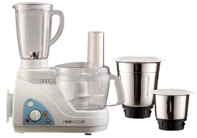 Usha Food Processor (2663) 600-Watt with 3 Jars (White) best food processors in india under 10000