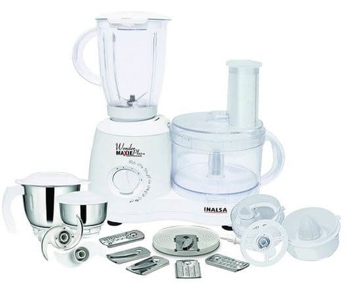 Inalsa Food Processor Wonder Maxie Plus V2 700 - Watt with Blender Jar, Dry Grinding Jar, Chutney Jar, 11 Accessories food processors